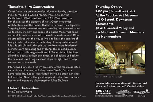 Coast Modern documentary at the Crocker Art Museum - October 25, 2012 at 7pm