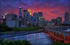 minneapolis eye candy (Dan Anderson.) Tags: park sunset minnesota night river mississippi downtown cloudy minne