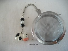 black and white cow tea 2 (Prim*Rose*Hill) Tags: tea infuser teaball