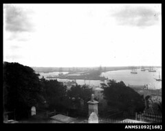Newcastle harbour from Christ Church cemetery looking west to Hunter River (Australian National Maritime Museum on The Commons) Tags: ocean sea cemetery grave river newcastle harbor waterfront harbour ships gravestones hunterriver harbourscenes williamhall johnbingle williamhallstudio