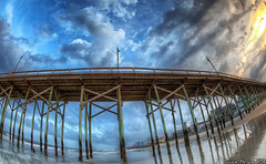Carolina Beach Fishing Pier (BrianMoranHDR) Tags: sunset beach clouds pier fishing northcarolina fisheye wilmington carolinabeach pleasureisland hdrsoft topazlabs niksoftware canon5dmarkii viveza2 adobephotoshopcs5extended denoise5 silverefexpro2 colorefexpro4 canon815mmlfisheye photomatixpro414 carolinabeachfishingpier