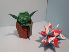 origami yoda - fumiaki kawahata and bascetta star - paolo bascetta (loganorigami) Tags: paper star origami yoda foil tissue bascetta loganorigami