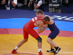 Greco-Roman Wrestling (pompey shoes) Tags: man male men london wrestling rings olympics unionjack wrestlers lycra 2012 bulge grecoroman