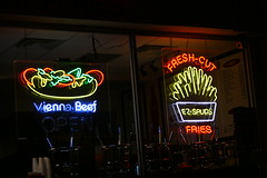 Neon Fries and Hot Dog (niureitman) Tags: food slr sign digital canon restaurant hotdog illinois neon fries neonsign spuds dslr 2012 eosrebel skokie viennabeef freshcutfries canondigitaleosrebel skokieillinois