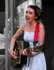 Listen to the music ... (csh 22) Tags: street summer girl 50mm guitar glasgow candid streetportrait busking selectivecolour sauchiehallstreet glasgowstreetscene nikond90 glasgowstreetphotography glasgowcharacter girlbusking