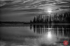 Evening mists (Kasia Sokulska (KasiaBasic)) Tags: park sunset sky bw sun lake canada clouds landscape national alberta elkisland astotin