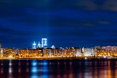 (xxooo) Tags: longexposure praia water gua skyline night lights long exposure luzes montevideo exposio longaexposio longa americadosul uruguai
