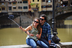Love Firenze - 3 (Smith-Bob) Tags: italy italia firenze florence europe street candid people woman women man men dude dudes couple together love inlove married happy joy close intimate touch hold holdme bridge pont pontevecchio arnoriver river medieval photo selfie camera phone smile pose beautifulcouple