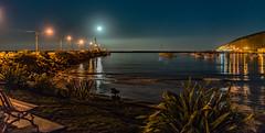 Moonrise ... Oamaru Harbour (HelenB55) Tags: d750 nikon2470 oamaru newzealand otago water night reflection
