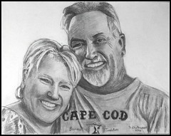 Linda & Joe - Black & White Pencil Drawing Done by STEVEN CHATEAUNEUF (2016) - This Photo Of This Drawing Was Also Taken by STEVEN CHATEAUNEUF (snc145) Tags: couple people faces smiles happy portraits art drawing pencil pencilportraits pencildrawing linda joe summertimetradition capecod beard mustache earrings 2016 stevenchateauneuf flickrunitedaward thisphotorocks