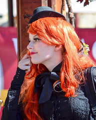 Fairhaven Steampunk Festival (James_D_Images) Tags: bellingham washingtonstate fairhaven steampunk festival 2016 candid costume goggles tophat portrait red hair sidelit