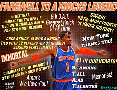 Farewell to the Greatest New York Knick of All Time, Amar'e Stoudemire (Coachie Ballgames) Tags: amare stoudemire stat standing tall talented new york knicks basketball retire retires retirement farewell madison square garden msg nba phoenix suns