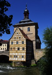 The best-known building of Bamberg (:Linda:) Tags: germany bavaria franconia town bamberg halftimbered river regnitz bluesky andreaskreuz
