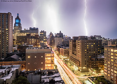 New York Lightning - 8/16/16 (P8161222) (Michael.Lee.Pics.NYC) Tags: newyork lightning night livecomposite lighttrail traffictrail rooftops architecture thirdavenue olympus em5 markii mkii 1240mmpro28