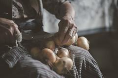 grandma preparing the onions for winter (lidia.corcea1) Tags: old rustic onion work woman peasant