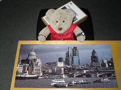 They makes bear paw-sized pussels now! (pefkosmad) Tags: jigsaw puzzle hobby leisure pastime london panorama photograph city cityoflondon buildings architecture 207pieces complete largepieces galleryone g1com ted tedricstudmuffin teddy bear stuffed toy soft fluffy plush
