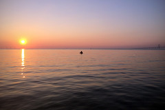 The man and the sea - Iphone shot (polybazze) Tags: sunset malmö summer september sun sea ocean öresund öresundsbron oresundbridge relfection man silhoutte iphone ipad newiphone