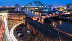 Rush Hour.jpg (G.A.D) Tags: livecompositemode lighttrails tyneandwear landscape bluehour rivertyne newcastle olympus wide angle high level bridge long exposure car lights