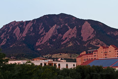 The Flatirons Bathed in Morning Light (brucetopher) Tags: mountain mountains boulder colorado rock rockies university campus college hill hills foothills morning sunrise pink purple
