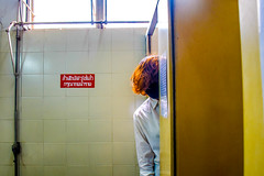 2 (txxmxxn) Tags: me girl self portrait selfportrait brown hair haircolor color face rotate wall tile toilet resttroom white shirt secretly blackmask walk stand yellow blus