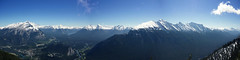 Pano - Sulphur Mountain (Felix Ermert) Tags: kanada canada alberta banff national park canon eos 60d roadtrip sulphur mountain lookout nature forest mountains snow blue sky clouds beautiful panorama