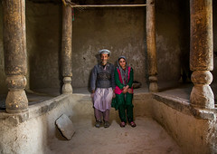 Father and her daughter in their traditional house, Badakhshan province, Zebak, Afghanistan (Eric Lafforgue) Tags: 2people 5055years 89years afghan424 afghanistan architecture badakhshanprovince centralasia child colourimage community dari daughter earthquakeproof father fullframe girls horizontal indoors islam ismaili lifestyles lookingatcamera pamir photography pillar sitting twopeople wakhan wooden zebak