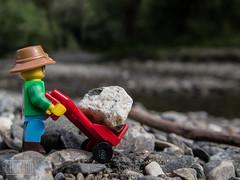 Lego stone sack barrow (genelabo) Tags: starzlachklamm lego stone stein sack barrow sackkarre rot minifigure closeup tiny grnten burgberg allgu