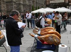 Cured ham (jamon) competition - Segovia (beneath Aqueduct) - Spain (Mitchell Landrigan) Tags: ham jamon segoviaspain