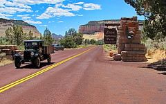 Blast from the past - Zion National Park East Entrance with an historic Chevrolet
