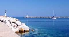 Blue, blue and more blue... (Nikos O'Nick) Tags: blue sea lighthouse port boat nikon nikos greece limnos lemnos d300s kotanidis