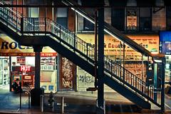New York facets - Marcy av. station [Explored] (_Franck Michel_) Tags: night subway stair metro steel explorer explore nuit escalier acier explored