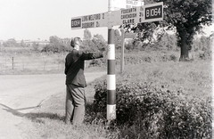 Near the Essex/Suffolk border, 4 August 1957 (allhails) Tags: longmelford sign suffolk clare post finger signpost cavendish borley fingerpost bulmer preworboys worboys foxearth b1064 cz25