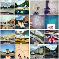 red toes and one pair of red shoes (Janine Graf) Tags: cameraphone road feet car toes sandals roadtrip traveling diptic redtoenails janine1968 ipho