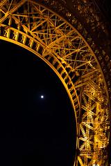The Eiffeltower and the moon (vale0065) Tags: paris tower night tour nacht toren eiffel eifeltower parijs eifeltoren