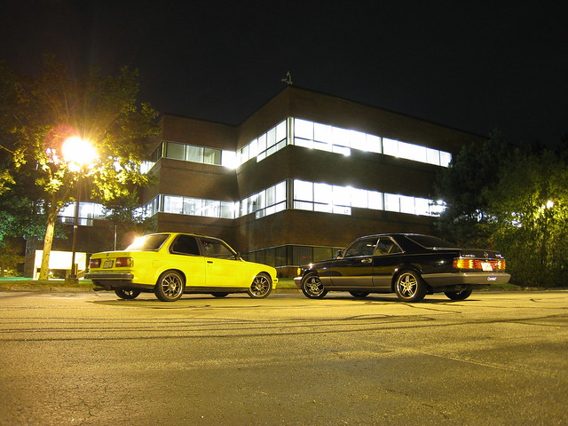 park black yellow night mercedes benz drive office long exposure shot no massachusetts 1988 newengland competition business mercedesbenz bmw 1991 mass sec rims apollo 325 complex coupe longer e30 chelmsford 560 5speed stepsisters w126 325e voxx 560sec 1988bmw 1991mercedes w126coupe