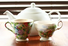 Tea for Two (Cindy's Here) Tags: canon tea antique teacups teapot greentea scavchal