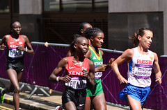 The 3 medalists in their last miles (Alexandre Moreau | Photography) Tags: road portrait london race photography women photos kenya russia marathon victory effort ethiopia 2012 cheapside london2012 olypics gelana russianfederationrus wwwalexandremoreauphotocom jeptoopriscah petrovaarkhipovatatyana petrovaarkhipova