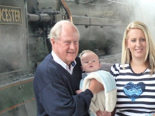 Family travel - Great grandfather beside steam loco on birthday journey