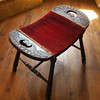 20s ANTIQUE WOOD STOOL Turned Leg Saddle Seat Red Upholstered William and Mary Style Vintage Wooden Furniture Bench 1920s 1930s (Aces Finds Vintage) Tags: vintage furniture direct checkout foot stool jacobean style shabby chic house cottage home bohemian decor victorian decorating ideas burlesque bedroom french boudoir gypsy design living room boho