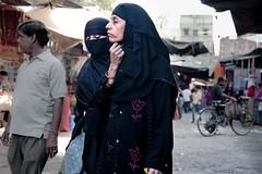 Two Ladies Shopping _7677 (hkoons) Tags: woman india black clothing women worship dress god muslim islam prayer religion hijab gods niqab centralasia deity allah rajasthan burqa jodhpur burkha pinkcity attire beliefs burka burqua