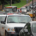 Traffic backs up both ways down Dan Allen Drive as students move in to their dorms.MOVEIN.2012.1730