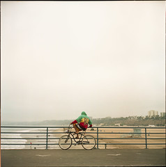 (AAGCTT) Tags: california man 6x6 film beach bicycle mediumformat losangeles santamonica agfacolorportrait160