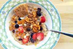 The Most Important Meal of the Day (blair_25) Tags: barley breakfast corn wheat cereal strawberries raisins oatmeal oats cornflakes maize blueberries weetbix sultana breakfastcereal apricotkernel barleymax