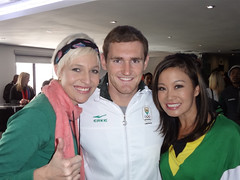 SABC3 Expresso presenters Jen Su and Liezel van der Westhuizen with Olympic Gold Medalist Cameron van der Burgh (Jennifer Su) Tags: southafrica swimmer olympics goldmedal london2012 welcomeparty jensue jensu liezelvanderwesthuizen cameronvanderburgh