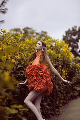 Wonderland's Garden (Daniela Majic) Tags: flowers fashion coral garden coco fantasy wonderland fairytales fashionfantasy flowersfashion danielamajicphotography wonderlandgarden wonderlandsgarden coralruffledress coralfashion wonderlandgardeneditorial yellowflowersfashion cocomagazineeditorial