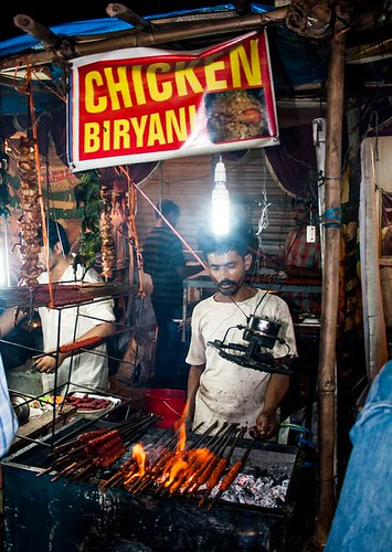 Stall serving Chicken Biryani and Kebabs