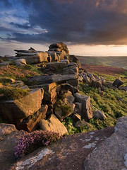 Over Owler Tor (Paul Newcombe) Tags: uk sunset summer english landscape photography countryside nationalpark sandstone rocks heather peakdistrict sigma wideangle august british lichen peaks 1020 warmlight gritstone sidelight overowlertor britnatparks gritsotne
