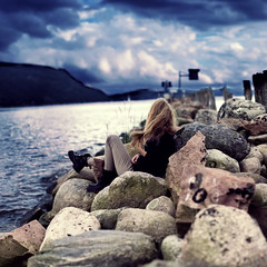 Storm, Take Me With You (Sophia Alexis) Tags: alexis sea girl norway clouds stones hills 365 sophia