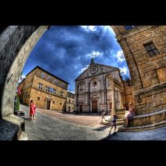 Pienza, Tuscany (R.o.b.e.r.t.o.) Tags: people italy nikon italia si unesco tuscany duomo roberto pienza toscana valdorcia palazzopiccolomini d700 sigmafisheye15mm hdr5raw