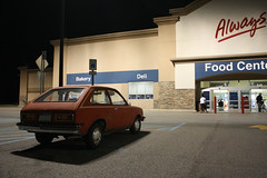 Walmart (Flint Foto Factory) Tags: county street city cruise family light summer urban music food orange brick history chevrolet car festival night dark fun evening concert parkinglot gm downtown shadows nocturnal michigan live stripes august walmart event tape chevy storefront friendly 70s suburb interstate birthplace annual 69 1970s 1977 flint 1976 genesee performances burton 2012 generalmotors chevette courtst i69 saginawst worldcars backtothebricks belsayrd